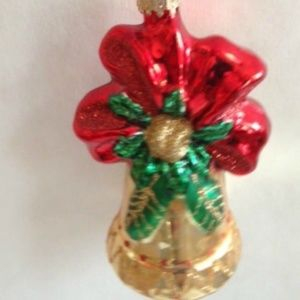 Poinsettia Bell Ornament Glass Christmas Holiday